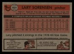 1981 Topps Traded #831 T Larry Sorenson  Back Thumbnail