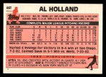 1983 Topps Traded #46 T Al Holland  Back Thumbnail