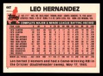 1983 Topps Traded #44 T Leo Hernandez  Back Thumbnail