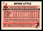 1983 Topps Traded #62 T Bryan Little  Back Thumbnail