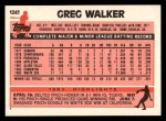 1983 Topps Traded #124 T Greg Walker  Back Thumbnail