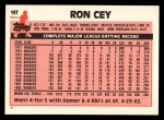 1983 Topps Traded #19 T Ron Cey  Back Thumbnail