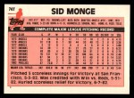 1983 Topps Traded #74 T Sid Monge  Back Thumbnail