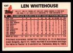 1983 Topps Traded #126 T Len Whitehouse  Back Thumbnail
