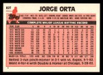 1983 Topps Traded #82 T Jorge Orta  Back Thumbnail