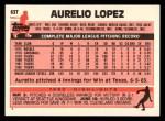 1983 Topps Traded #63 T Aurelio Lopez  Back Thumbnail