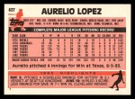 1983 Topps Traded #63 T Aurelio Lopez  Back Thumbnail
