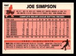 1983 Topps Traded #104 T Joe Simpson  Back Thumbnail