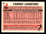 1983 Topps Traded #60 T Carney Lansford  Back Thumbnail