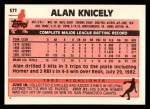 1983 Topps Traded #57 T Alan Knicely  Back Thumbnail