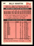 1983 Topps Traded #66 T Billy Martin  Back Thumbnail
