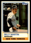 1983 Topps Traded #66 T Billy Martin  Front Thumbnail