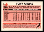 1983 Topps Traded #4 T Tony Armas  Back Thumbnail