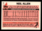 1983 Topps Traded #1 T Neil Allen  Back Thumbnail