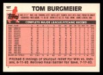 1983 Topps Traded #16 T Tom Burgmeier  Back Thumbnail