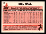 1983 Topps Traded #39 T Mel Hall  Back Thumbnail