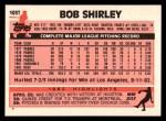 1983 Topps Traded #103 T Bob Shirley  Back Thumbnail