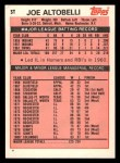 1983 Topps Traded #3 T Joe Altobelli  Back Thumbnail