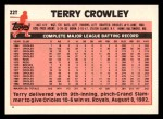 1983 Topps Traded #22 T Terry Crowley  Back Thumbnail
