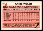 1983 Topps Traded #125 T Chris Welsh  Back Thumbnail