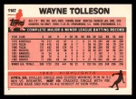 1983 Topps Traded #114 T Wayne Tolleson  Back Thumbnail