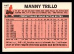 1983 Topps Traded #116 T Manny Trillo  Back Thumbnail