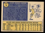 1970 Topps #78  Joe Lahoud  Back Thumbnail