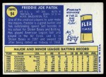 1970 Topps #94  Fred Patek  Back Thumbnail
