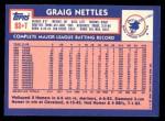 1984 Topps Traded #83  Graig Nettles  Back Thumbnail