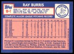 1984 Topps Traded #18  Ray Burris  Back Thumbnail