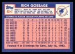 1984 Topps Traded #43  Goose Gossage  Back Thumbnail