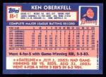 1984 Topps Traded #85  Ken Oberkfell  Back Thumbnail