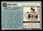 1964 Topps #12  Ron Hall  Back Thumbnail
