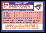 1984 Topps Traded #62  Jimmy Key  Back Thumbnail