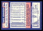 1984 Topps Traded #57  Davey Johnson  Back Thumbnail