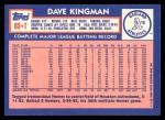 1984 Topps Traded #63  Dave Kingman  Back Thumbnail