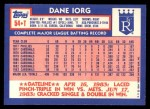 1984 Topps Traded #54  Dane Iorg  Back Thumbnail