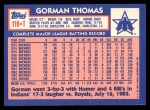 1984 Topps Traded #119  Gorman Thomas  Back Thumbnail