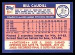 1984 Topps Traded #23  Bill Caudill  Back Thumbnail