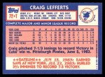 1984 Topps Traded #72  Craig Lefferts  Back Thumbnail