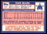 1984 Topps Traded #8  Dave Beard  Back Thumbnail