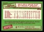 1985 Topps Traded #122 T Rich Thompson  Back Thumbnail