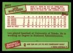 1985 Topps Traded #80 T Len Matuszek  Back Thumbnail