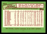 1985 Topps Traded #75 T Sixto Lezcano  Back Thumbnail