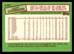 1985 Topps Traded #63 T Cliff Johnson  Back Thumbnail
