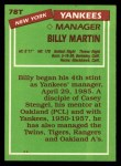 1985 Topps Traded #78 T Billy Martin  Back Thumbnail