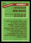 1985 Topps Traded #81 T Gene Mauch  Back Thumbnail