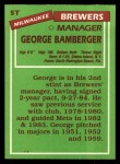 1985 Topps Traded #5 T George Bamberger  Back Thumbnail
