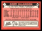 1986 Topps Traded #1 T Andy Allanson  Back Thumbnail