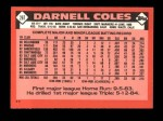 1986 Topps Traded #26 T Darnell Coles  Back Thumbnail